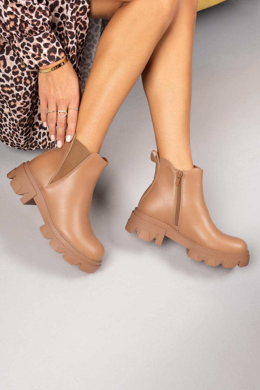 Ταμπά Τρακτερωτά Ankle Boots με Λάστιχο στο Πλάι
