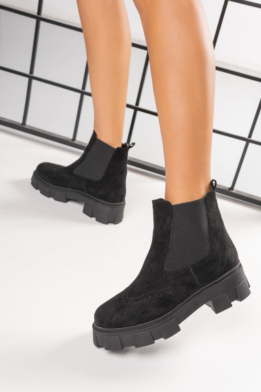 Μαύρα Σουέτ Ankle Boots Ελληνικής Κατασκευής με Λάστιχο